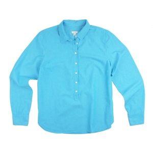 JCREW Aqua Plaited Popover Button Down Shirt